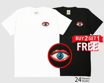 Eye in Lips Embroidered T-Shirt by 24PlanetsStudio