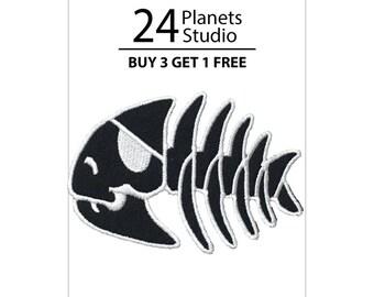 Pirate Fish Bone Iron on Patch by 24PlanetsStudio