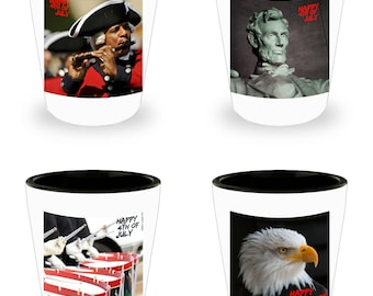 Set of 4 ICONIC AMERICAN Photograph 4th of July Shot Glasses! White Ceramic Shot Glasses Make An Awesome gift!