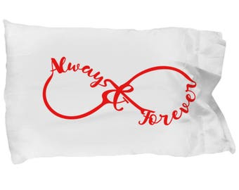 Always and Forever Red Infinite Pillowcase I Love You Gift Love Bedding Bedroom Decorative Sweetheart Present
