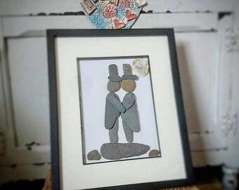 Pebble art wedding picture