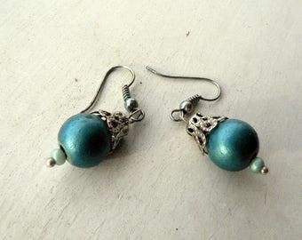 ethnic earrings, boho, hippie vintage Pearly blue wood beads
