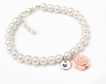 Flower Girl Bracelet, Kids Wedding Jewelry, Childrens Personalized Bracelet, Childrens Jewelry, Pearl Bracelet, Flower Girl Gift
