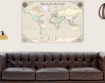 Travel map gift etsy unique wedding gift for groom from bride world map art canvas push pin map rustic travel gumiabroncs Gallery