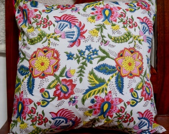 Indian series B: 40x40cm (16 x 16 inch) cotton Cushion cover. Multicolored floral patterns. Fuchsia cotton.