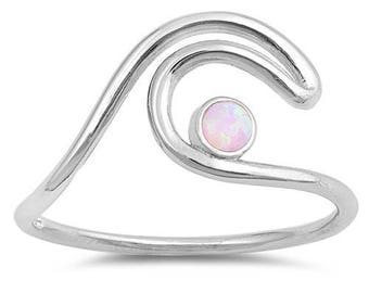 Pink Opal Wave Ring