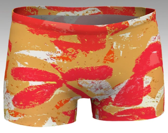 Tropical Flowers Yoga Shorts, Red and Gold Boy Shorts, Women's Shorts, Yoga Shorts, Swim Shorts, Athletic Shorts, Running Shorts