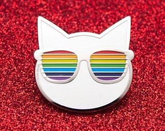 Cool Cat Enamel Pin Badge | Pin Badges | Hard Enamel Pin Badge | Cat Pin Lapel Badge