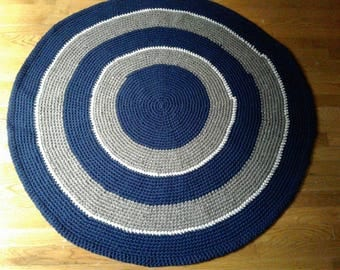 Handmade Throw Rug/round Crochet Rug Navy Brown And White/thick Carpet/area