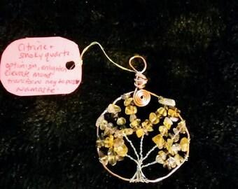 Citrine and Smokey quartz tree of life