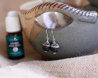 Essential oil earrings/aromatherapy earrings/essential oil diffuser earrings/lava stone earrings/lava rock earrings/oil diffuser earrings