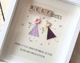 Birthday gift friend etsy personalised best friend button frame best friend gift wall art home decor negle Choice Image