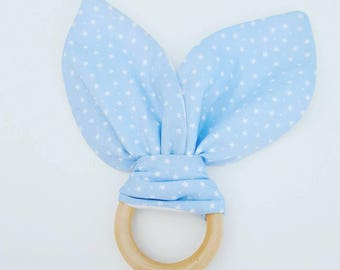 Bunny Ears Teething Ring - Blue/Cream Stars
