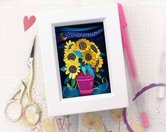 Paper Cut Art - Sunflower Art - Original Hand Cut Paper - Shadow Box Art - Paper Cut Flowers