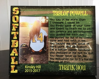 Softball coach picture frame gift //  / End of Season thank you Gift for coach / holds 4x6