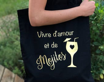 """Tote bag """"Live love and Mojitos"""" for Mojitos lovers"""