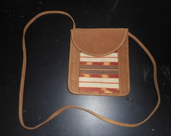 Small Leather and Tapestry Purse