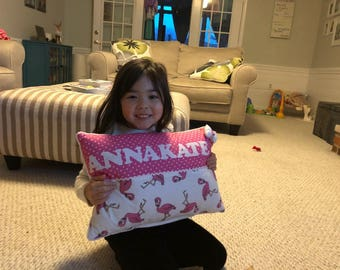 Girls Pillow, Custom Personalized Pillow, Kids pillow, Applique Pillow, Embroidered Pillow, Baby Pillow, Baby Shower Gift, Name Pillow