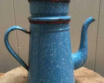 French Blue Enamel Coffee Pot -Percolator- Vintage French Cuisine