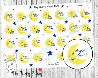 Day Shift - Night Shift - Planner Stickers for Happy Planner, Erin Condren, Filofax, Kikkik (S128)