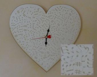 Heart wood clock, musical notes engraved wall clock, handmade