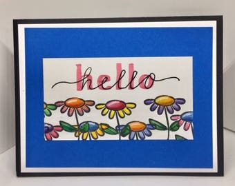 C012 - Hand-lettered Hello Greeting Card - Friendship Card