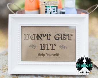 Bug Spray Sign   Wedding Bug Spray Sign   Printable Bug Spray Sign   Outdoor Wedding Sign   Don't Get Bit Mosquito Sign   Instant Download