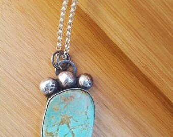 Sterling Silver Turquoise Pendant Statement