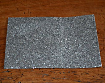 Coupon of genuine leather cowhide silver sequined (8994552)