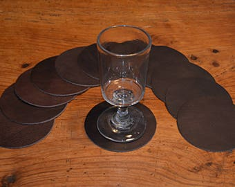 12 brown cowhide leather coasters (2017072603)
