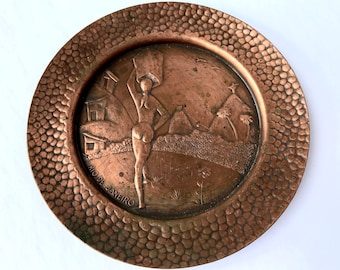Vintage solid cooper plate or charger from Rio de Janeiro - Brazil