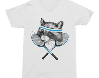 Raccoon TShirt, Animal T-Shirt, Raccoon Mens T-Shirt, Womens Tee Cotton, Girls Tennis Tee, Sporty Raccoon T-Shirt