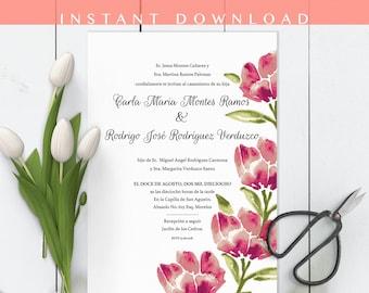Invitaciones de Boda, Spanish Wedding Invitations, Watercolor, Floral Invitation de Boda, editable, imprime en casa, Invitacion, en español