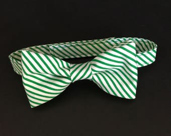 Baby Boys Bow Tie, Green & White Striped Bow Tie, Little Boys Striped Bow Tie, Boys Bow Tie, Adjustable Bow Tie, Pre-Tied Bow Tie