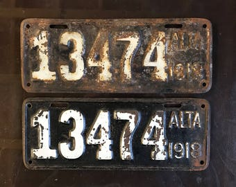 1918 Alberta License Plates