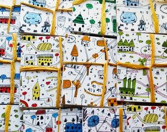 Set of 8 cards of the Village of HJÄRTA handmade - Handmade, Fine Art, PostCard, Gift, stationery, gift, Christmas, baby, child