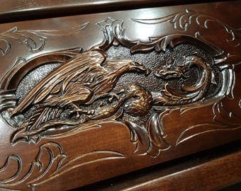 Hand Carved Backgammon Eagle and Dragon Backgammon set Christmas Gift for men Wooden Backgammon game Fathers gift Backgammon board game