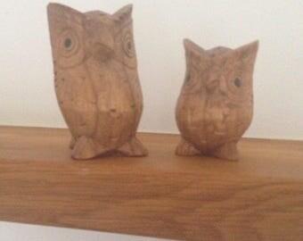 Owl, Dekoratin, two pieces, handmade