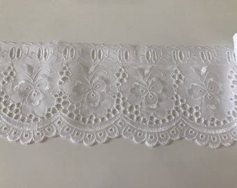 Lace white broderie anglaise with past Ribbon 9 cm width