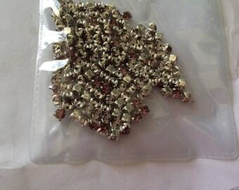 set of 144 rhinestones set 4 mm Crystal silver plated base