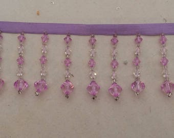 Fringe bead violet Ribbon sewing