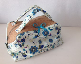 Toilet bag turquoise flower Cork fabric