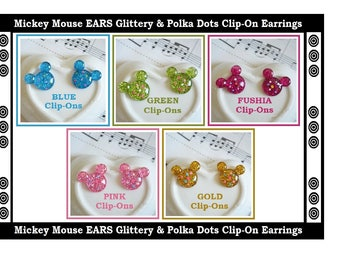 Mickey Mouse Ears Kids Clip On Earrings (5) Prs Glitter & Polka Dots Play Dress Up Girl Earrings Fun Earrings Kids Gifts Party Favors