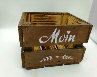 Moin, wooden box, shelf, wall, Utensilo, storage, flower pot, gift box, Maritim, crate, odds, birthday box, gift
