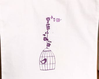 Tote bag/purse/Tote/shopping/novelty white and Fuchsia glitter cage and bird pattern