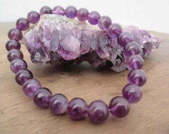Pretty Amethyst bracelet, beads 8mm, 19 cm.