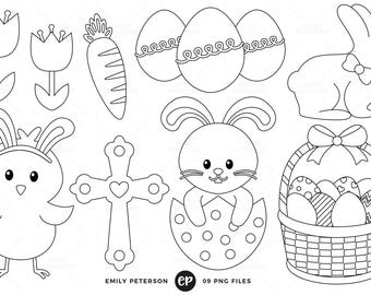 50% OFF SALE! Easter Digital Stamps, Easter Bunny Line Art, Easter Eggs Clip Art - Commercial Use, Instant Download
