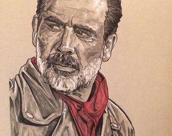 The Walking Dead Original Artwork Print Negan Jeffrey Dean Morgan JDM