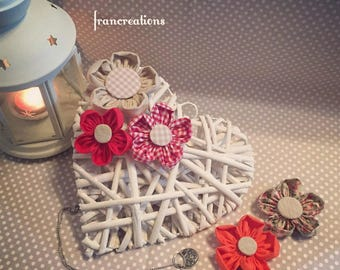 Braided heart with fabric flowers country