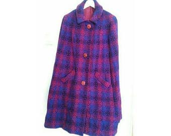 Vintage Welsh Wool Tapestry Cape Coat (5598)